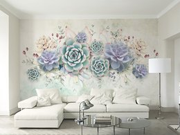 Small House Decoration Australia - Wallpaper 3D Small Fresh Succulents Watercolor Style Living Room Bedroom Background Wall Decoration Mural Wallpaper