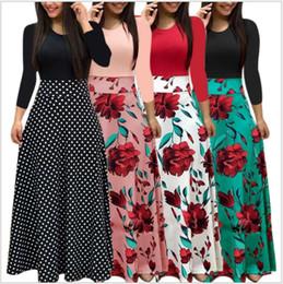 0b0103b1d30c Hot Fashion Summer Long Sleeve Skirt Women Floral Printed Girl Dress Beach  Party Maxi Patchwork High Waist Stitching Dress