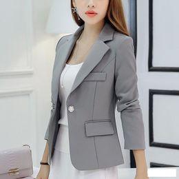 $enCountryForm.capitalKeyWord Australia - Spring Autumn Women Blazers and Jackets 2017 Apparel for Womens New Fashion Long Sleeve Blue Red Gray Work Solid Party Club Wear