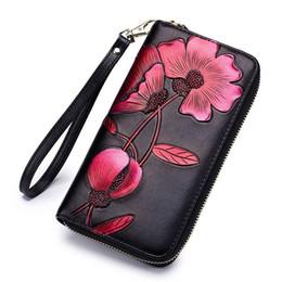 Leather Money Bag Purse Australia - Fashion Flower Genuine Leather Women Wallet Female Long Walet Women Lady Clutch Money Bag Coin Purse Phone Pocket Portomonee D33