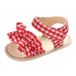 $enCountryForm.capitalKeyWord UK - Children's printed sandals Summer girls plaid beach shoes Casual ruffled comfortable Comfortable Flat toddler Los zapatos
