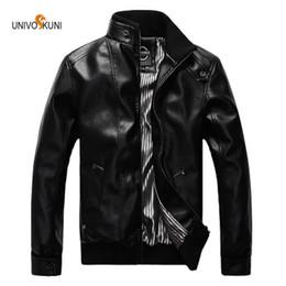 Korean Motorcycle Jacket Australia - UNIVOS KUNI Men's motorcycle leather 2019 spring and autumn new leather jacket Korean Slim Size M-5XL WYR77