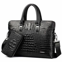 $enCountryForm.capitalKeyWord NZ - Business Laptop brown Handbag Crocodile Genuine Leather Male Top-handle Men Messenger Bags Alligator Shoulder Tote Bolsa Masculina vintage