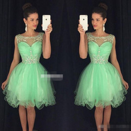 $enCountryForm.capitalKeyWord NZ - 2019 Mint Green Sheer Neck Homecoming Dresses Short Beaded Crystal Tulle Bright Yellow Cocktail Party Gowns A Line Graduation Formal Wear