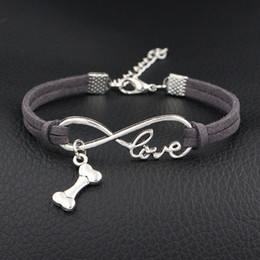 $enCountryForm.capitalKeyWord NZ - Fashion Gray Leather Suede Rope DIY Bracelet for Women Men Jewelry 2019 Silver Color Infinity Love Dog Bone Shape Pendant Female Male Bijoux