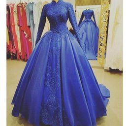 T Shirt Dress Split Up Sides Australia - elegant Blue Muslim Evening Dress Long Sleeves High Neck Appliques Arabic Formal Evening Gowns Plus Size Lace Up Prom Dress For Graduations