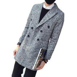 Uomini di cappotto di tweed di lana online-Trench doppio petto uomo spessa    autunno e62e21a9a3f
