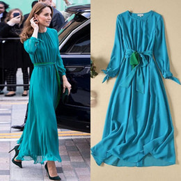 princess kate dresses Australia - Princess Kate Middleton 2020 Spring Summer New Chiffon Long Dress Fashion High Quality Women'S Party Casual Bow Slim Tulle Gown
