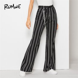 Discount wide leg striped trousers - High Street Striped High Waist Belted Black Woman Flare Pants With Letter Tape Chic Lady Elastic Waist Wide Leg Trousers