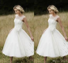 $enCountryForm.capitalKeyWord Australia - Simple White Tea Length Wedding Dresses Cheap Chiffon Country Wedding Dresses Vintage European Bohemian bridal Dress