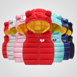 Wholesale Child Waistcoat Children Outerwear Winter Baby Clothes Cute Bear Ears Coats Warm Hooded Cotton Baby Boys Girls Vest For Girls