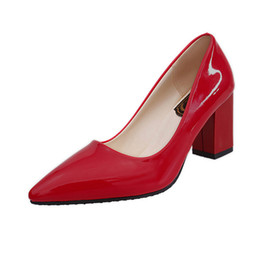 $enCountryForm.capitalKeyWord Australia - Fashion Sexy Pointy Toe Heels Women Thick Heels Patent Leather Wedding Shoes Bride Block Heel Shoes 2019 Comfortable Lazy Shoes Women Pumps