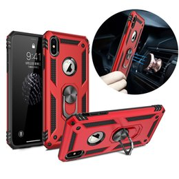 Iphone 5g Tpu Australia - Hybrid Armor Ring Stand Magnetic Car Mount TPU PC Case For iPhone X XR XS Max 8 7 6 Samsung S8 S9 S10 5G Plus S10e Note 9 A6 A8 A7 A9 2018