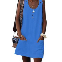 $enCountryForm.capitalKeyWord Australia - Button Tank Dress Women Sleeveless Pockets Casual Cotton Dress Summer Beach Sundress 2019 White Short A Line Dresses Ladies