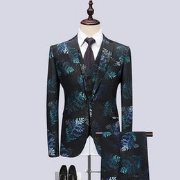 designer tuxedos men NZ - Korean Style New Men Prom Suits for Wedding 2018 Designer Slim Fit Tuxedo Red Blue Print Groom Suit Men Jacket+Vest+Pants CD50