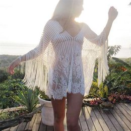 beachwear dresses for women Canada - 2019 Sexy Summer Pareo Beach Cover Up Swimwear Women Swimsuit Cover Up Kaftan Beach Dress Tunic White Beachwear Tunics for Beach T200517