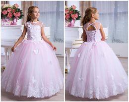 $enCountryForm.capitalKeyWord Australia - Blush Flower Girl Dress Cream Tulle Rose Guipure Tutu Birthday Wedding Kids Pink Lace Satin Junior Bridesmaid Ballerina Formal Party Dress