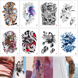 scorpion stickers Canada - Waterproof Body Art Tattoo Sticker Evil Person Skull Scorpion Horse Flower Design Fake Half Arm Temporary Tattoo Water Transfer Decal Makeup