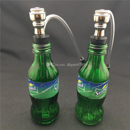 thick water bottles Canada - Green Sprite Bottle Glass Hookah Ash Catchers high quality Thick Pyrex tobacco pipe metal smoking tobacco pipe water bongs