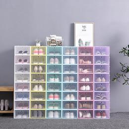 Vente en gros CLEAR Boîte à chaussures en plastique Boîte à chaussures anti-poussière Organisateur de stockage Flip Boîtes à talons hauts transparents Couleurs Couleur Chaussures empilables Conteneurs