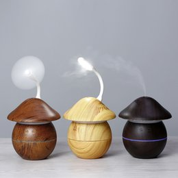 cooling mist fans UK - Wooden Mushroom Aroma Diffuser Ultrasonic Cool Mist Air Wood Grain Humidifier with 7 Color LED NightLight for Office Home with USB Light fan
