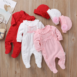$enCountryForm.capitalKeyWord NZ - Baby kids clothes 3 colors newborn baby flowers Lotus Edge jumpsuits Creeping clothes+hat 2 pieces set kids designer clothes girls JY527