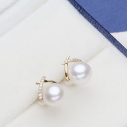 $enCountryForm.capitalKeyWord Australia - Luxury genuine 18k gold jewelry for women top quality yellow gold earrings Fit Half Hole Pearl DIY Accessories