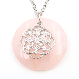 flower life silver Australia - Wholesale 5 pcs Silver Plated Flower of Life with Rhinestone Round Hollow Rose Quartz Pendant Necklace Lapis Lazuli Amulet Jewelry