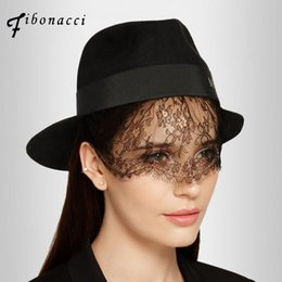 $enCountryForm.capitalKeyWord UK - Fibonacci maison michel wool fedoras hats for women felt hat black bud silk veils ladies fedora caps lady fashion hat