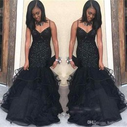$enCountryForm.capitalKeyWord Australia - Black Girls Mermaid V Neck Prom Dresses Spaghetti Straps Beading Crystal Tiered Ruffles Organza Sweep Train African Evening Party Gowns