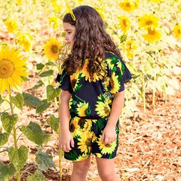 Flying o online shopping - Girls Fashion Sunflower Print Romper Children Girl Flying Sleeve Casual Jumpsuits Kids Flower Printed Clothes RRA561