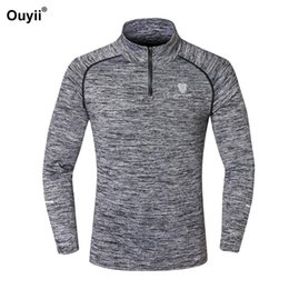 Wholesale golf gym workout for sale – plus size Long Sleeve Hiking Shirts Men Running Quick Dry Gym T Shirt Golf Sports Wear Training Zipper Tights Shirts Workout Soccer Tops