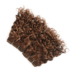 bobs weaves Australia - Light Brown and Honey Blond Double Drawn Hair Extensions Natural Culry Wave Ombre Short Bob Water Wave Bundles Brazilian Hair Extensions