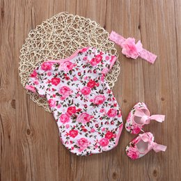 pearl flower girl shoes UK - Newborn Baby Girl Floral Leopard Print Bodysuits Jumpsuit+Shoe+Hairband 3Pcs Outfits Set Clothes 3to6 Months
