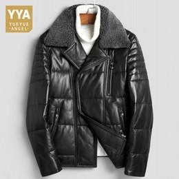Luxury Motorcycle Jackets Australia - Fashion Mens Slim Fit Genuine Leather Outerwear Male Pocket Zipper Short Motorcycle Jacket Luxury Winter Thick Warm Down Coat