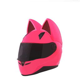 Pink full face motorcycle helmet online shopping - NITRINOS Brand motorcycle helmet full face with cat ears four season pink color