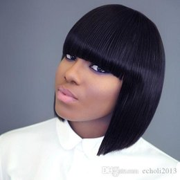 straight wigs fringe UK - Short Bob Human Hair Full Lace Wig Full Bangs Glueless Short Brazilian Straight Human Hair Wig with fringe for Black Woman 180% density