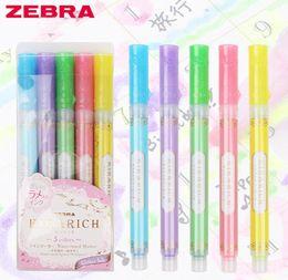$enCountryForm.capitalKeyWord Australia - 5pcs set Color Japan Zebra KIRARICH Shiny Pearl Pen Set WKS18 color Highlighter Pen joural marker school supplies