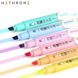 Highlighters Markers Australia - Hethrone 1 PC Double Head Erasable Highlighter Pen Fluorescent Fineliner Pens Office Pastel Markers School Stationary Supplies