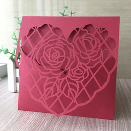 invitation pearl buckles Australia - 15PCS  lot Wedding Invitation Cards Sample Red Pearl Paper Hollow Laser Cut Heart And Ross Grand Theme Marriage Ceremony Supplies