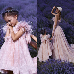 $enCountryForm.capitalKeyWord Australia - High Low Pink Girl's Pageant Dresses with Feathers 2019 Cap Sleeve Lace Girls Birthday Formal Party Gowns Mother and Daughter Dress