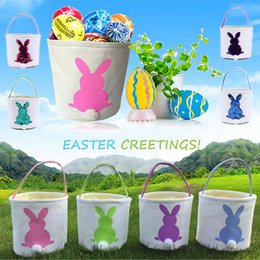 $enCountryForm.capitalKeyWord NZ - Easter Rabbit Basket Easter Bunny Bags Rabbit Printed Canvas Tote Bag Egg Candies Baskets 4 Colors CNY1052