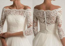 Boleros Champagne For Wedding Dresses UK - Lace Wedding Jacket For Strapless Wedding Dresses Elegant Long Sleeve Bridal Lace Jackets White Wedding Accessories Applique Ivory Boho