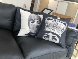 Face Chairs Australia - Fornasetti Portrait Cushion Cover Beauty Face Sexy Lip Thick Linen Cotton Pillow Cover 45X45cm Bedroom Sofa Chair Decoration