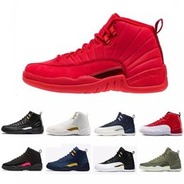 China 12 Gym Red 12s College Navy men basketball shoes Michigan WINGS bulls UNC Flu Game the master black white taxi Sports trainer sneakers supplier bull genuine leather suppliers
