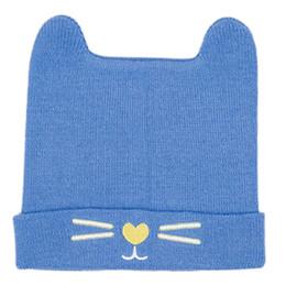 e5b304095bc52 Bebê recém-nascido Infantil Inverno Com Nervuras De Malha Cuffed Hat Doce  Cor Sólida Orelhas de Urso Bonitos Gorro Cap Meow Gato Bordado Orelha Mais  Quente