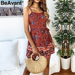 Women S Cotton Jumpsuits Australia - Beavant Bohemian Strap Women Summer Short Floral Print Holiday Beach Romper Playsuit Backless Cotton Jumpsuit Overalls C19040402
