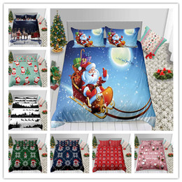 $enCountryForm.capitalKeyWord Australia - 3D Printing Santa Claus Skiing And Christmas Elk Merry Christmas Bedding Set New Year Winter Duvet Cover Holiday Gifts Bed Sheet