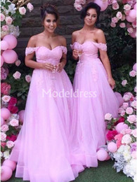 Long organza bridesmaid dresses online shopping - Country Style Lace Long Bridesmaid Dresses Off Shoulder A Line Sexy Weeding Guest Gowns Stylish Cheep Formal Dress Classic Hot Sale Vestidos