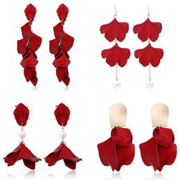 Resin Rose floweR eaRRings online shopping - 4Pairs Red Rose Petal Dangle Resin Floral Earring Acrylic Tiered Flower Earrings Rose Petal Earrings